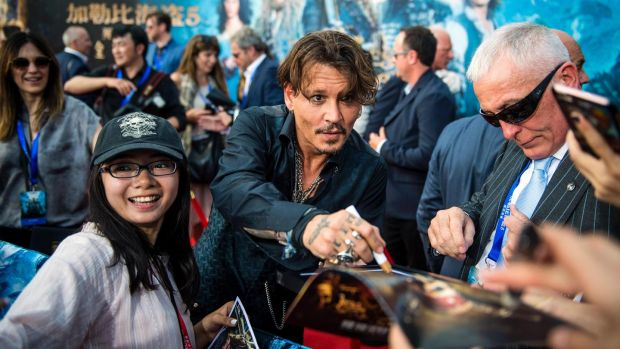 "Johnny Depp at the world premiere of ""Pirates of the Caribbean: Dead Men Tell No Tales"" in Shanghai. Photograph: Johannes Eisele/AFP/Getty Images"
