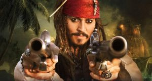 Johnny Depp as Captain Sparrow in the Disney movie 'Pirates of the Caribbean: Salazar's Revenge'