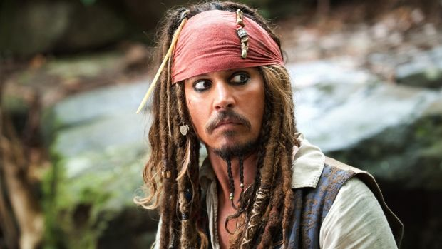 Johnny Depp in his most iconic role, as Captain Jack Sparrow in the 'Pirates of the Caribbean' franchise