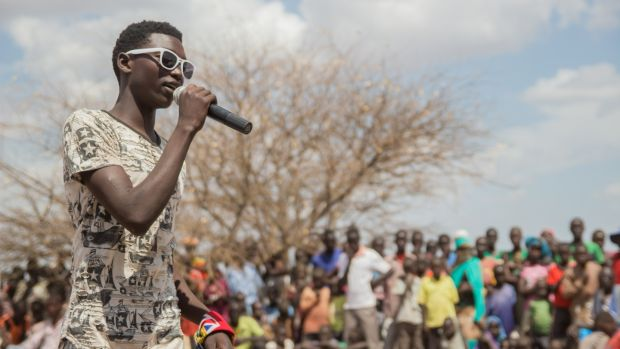 A rapper auditions for a talent show at the newly built Kalobeyi settlement, just outside the main Kakuma refugee camp. Photograph: Ruairi Casey