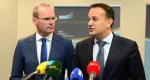 Candidates for the Fine Gael leadership Minister for Housing Simon Coveney  and Minister for Social Protection Leo Varadkar. Photograph: Dara Mac Dónaill