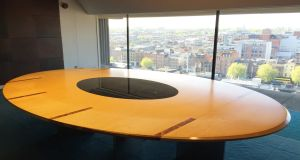 One of the Klimmek Furniture-designed tables from the  former Central Bank building in Dame Street, Dublin.