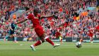 Georginio Wijnaldum's goal on the stroke of half time helped Liverpool past Middlesbrough at Anfield. Photograph: Phil Noble/Reuters
