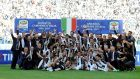 Juventus celebrate beating Crotone to secure the Serie A title. Photograph: Giorgio Perottino/Reuters