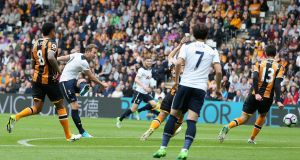 Harry Kane opens the scoring for  Tottenham Hotspur in the Premier League game against  Hull City  at the KC Stadium. Photograph: Nigel Roddis/Getty Images