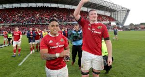 Munster's Francis Saili and Donnacha Ryan wave goodbye to the crowd at Thomond Park following their Pro12 semi-final win over Ospreys. Photograph: Morgan Treacy/Inpho