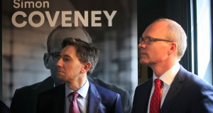 Minister for Health and Fine Gael TD Simon Harris  and party leadership candidate Simon Coveney  at the launch of the latter's policy document in the Dean Hotel in Dublin's City Centre. Photograph: Gareth Chaney/Collins