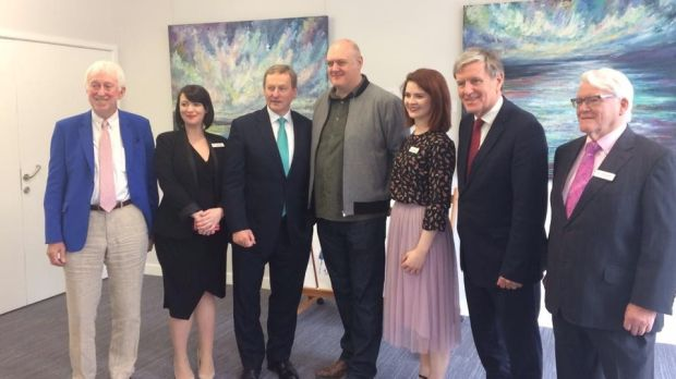 Taoiseach Enda Kenny at the Irish Cultural Centre in Hammersmith with chair of the board of directors Jim O'Hara, general manager Collette Mackin, comedian Dara O'Briain, assitant manager Katie Walsh, Ambassador Dan Muhall and secretary Seamus McGarry.