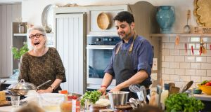 Darina Allen, festival co-director, hosting a cookery demo with Sunil Ghai from Pickle restaurant, Dublin. Photograph: Joleen Cronin