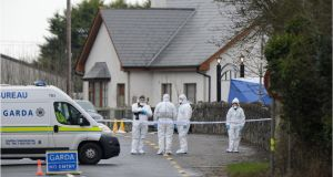 The scene after  the shooting dead of Det Garda Adrian Donohoe, while on cash escort duty at Lordship credit union, in Bellurgan, near Dundalk, Co Louth. File photograph: Dara Mac Dónaill/The Irish Times