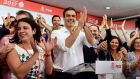 Pedro Sánchez applauds supporters at the PSOE headquarters in Madrid  after winning the race for the party's leadership. Photograph: Pierre-Philippe Marcou/AFP/Getty Images