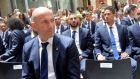 Real Madrid's French coach Zinedine Zidane sits at the Madrid Community headquarters during a celeration of their La Liga success. Photograph: Getty Images