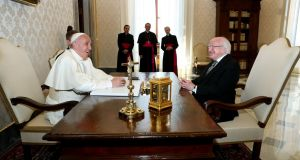 Pope Francis and President Michael D Higgins at ease meeting in the Vatican. Photograph: Maxwells