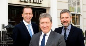 New Savills appointments:  Kevin Sweeney, director, retail; Angus Potterton, managing director; and Larry Brennan, new head of European retail agency