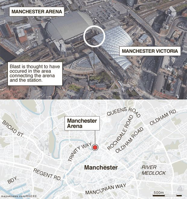 Manchester Arena: blast is thought to have occurred in the area connecting the venue and railway station