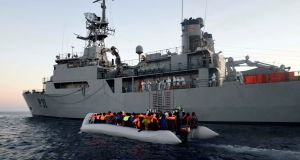 An  LE Eithne rescue operation in the Mediterranean in June 2015. Photograph: Irish Defence Forces