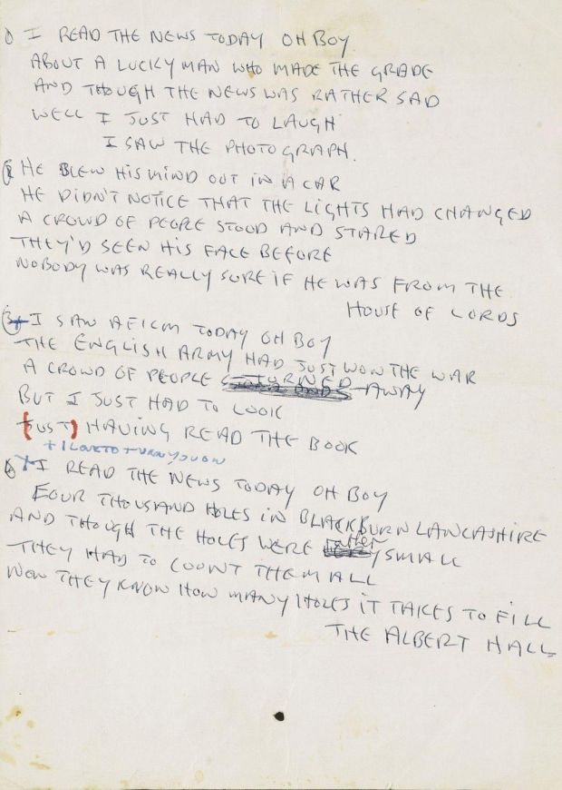"Autograph manuscript of John Lennon's lyrics for ""A Day in the Life"", the final track on The Beatles' 1967 album ""Sgt Pepper's Lonely Hearts Club Band"""
