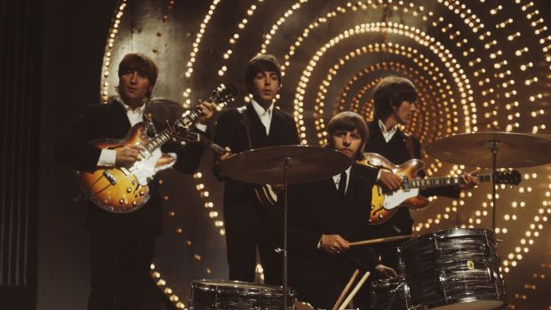 The Beatles perform 'Rain' and 'Paperback Writer' on the BBC television show 'Top Of The Pops' in June 16th, 1966. Photograph: Mark and Colleen Hayward/Redferns
