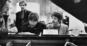 George Martin, Neil Aspinall, John Lennon and Paul McCartney at  Abbey Road studios during The Beatles'  recording of 'Lucy in the Sky With Diamonds'.  Photograph: Henry Grossman/Govinda Gallery