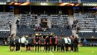 Ajax players hold a minute of silence to pay tribute to the victims of the Manchester terror attack. Photograph: PA