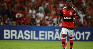 Vinicius Junior in action for Flamengo earlier this month. Photograph: Reuters