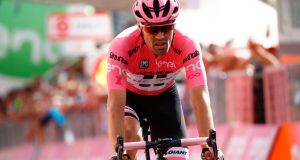 Dutch cyclist Tom Dumoulin of team Sunweb crosses the finish line of the 16th stage of the 100th Giro d'Italia on Tuesday.  Photograph: Luk Benies/AFP/Getty Images
