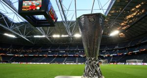 A view of the Europa League trophy at the Friends Arena, Stockholm, in Sweden, ahead of the final between Manchester United and Ajax. Photograph: PA