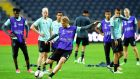 Ajax' Danish forward Kasper Dolberg during his team's training session at Friends Arena in Stockholm. Photograph: PA