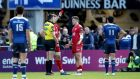 Scarlets' Steff Evans is sent off by referee Marius Mitrea at the RDS. Photograph: Ryan Byrne/Inpho