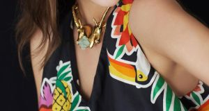 Print dress by Pinko €330, antelope octahedra necklace by Beatriz Palacios €795 from Made, Powerscourt.