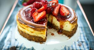 Donal Skehan: New York style baked strawberry cheesecake