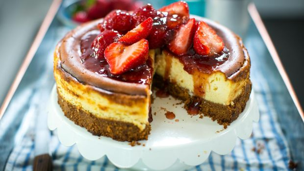 Donal Skehan New York Style Baked Strawberry Cheesecake