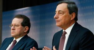 ECB vice-president Vitor Constancio and Mario Draghi, the bank's president. Photograph: Ralph Orlowski/Bloomberg