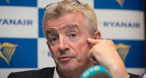 Ryanair chief executive Michael O'Leary at a Ryanair press briefing in Dublin. Photograph: Gareth Chaney/Collins