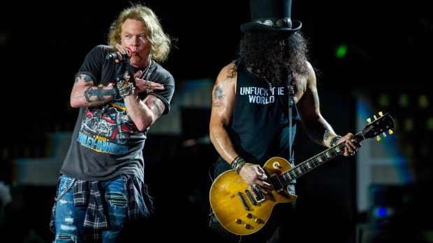 Axl Rose and Slash perform at the Guns N' Roses Not In This Lifetime Tour at QSAC Stadium Brisbane on February 7, 2017 in Brisbane, Australia. Photograph: Marc Grimwade/WireImage
