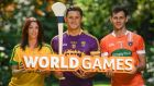 Aoife McDonnell of Donegal, Lee Chin of Wexford and Jamie Clarke of Armagh at the  launch of the 2017 Global Games Development Fund at Iveagh House on Wednesday.  Photograph: Sam Barnes/Sportsfile