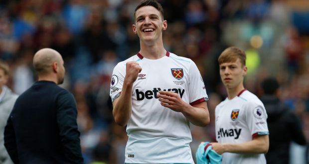1065738e584 Declan Rice made his debut for West Ham in the Premier League game against  Burnley at