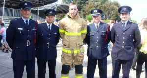 Dublin Fire Brigade Members Mark Hyland, Liam Hyland, new recruit Craig Hyland, Paul Hyland and Cameron Hyland. Photograph: Ronan McGreevy