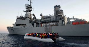 The  'LÉ Eithne' rescue operation in the Mediterranean. Photograph: Irish Defence Forces