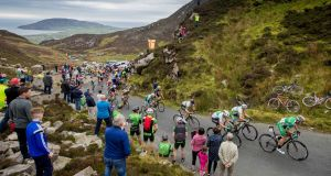 Matt Teggart (second from right) of the An Post Chain Reaction  summits Mamore Gap in Donegal on his way to claiming the yellow jersey on stage four of the An Post Rás. Photograph: Morgan Treacy/Inpho