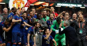 Manchester United manager Jose Mourinho leads the celebrations after the Europa League win over Ajax  celebrate winning the Europa League at the  Friends Arena in Stockholm. Photograph:  Andrew Couldridge/Reuters/Livepic