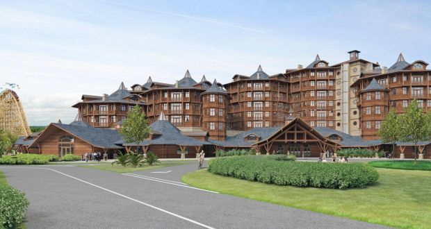 A computer generated image of the planned 7 story hotel in Tayto Park.