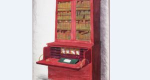 A watercolour painting of Flann O'Brien's writing desk is to be sold with the actual desk.