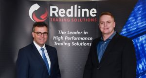 Alastair Hamilton, Invest NI,  with Rob McCollum, Redline Trading Solutions, during a visit to the company in Massachusetts