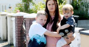 Cheryl Barnwell with her children Clayton (9) and Rocco (23 months). Photograph: Alan Betson/The Irish Times