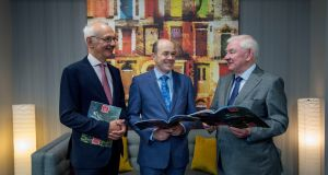 Press Ombudsman Peter Feeney with Minister or Communications Denis Naughten and   Press Council of Ireland chairman Sean Donlon  at the  launch of the Press Council of Ireland Annual Report 2016. Photograph Brenda Fitzsimmons