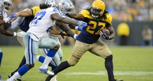 Eddie Lacy in action for the Green Bay Packers against the  Dallas Cowboys last October. In march he signed for the Seattle Seahawks. Photograph:  Hannah Foslien/Getty Images