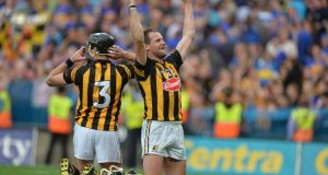 "JJ Delaney and Jackie Tyrrell celebrate victory over Tipperary  in the All-Ireland final replay of 2014. ""I relished the idea of doing all this so that when the summer came around, I was going into the championship with a hard, strong body."" Photograph: Alan Betson"