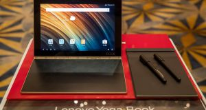 A Lenovo Yoga Book tablet   on display during a news conference in Hong Kong  on Thursday.  Photograph: Bloomberg