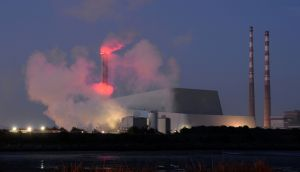 'Steam blows' at the new Poolbeg incinerator, Dublin. Photograph: Dara Mac Dónaill/The Irish Times